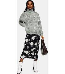 black and white floral print bias midi skirt - monochrome