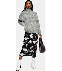 black and white floral print bias midi skirt - monochrome