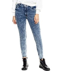 medium waist skinny jeans efecto frosted eco recycle color blue
