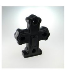 cruz c/ luz led preto em cerâmica
