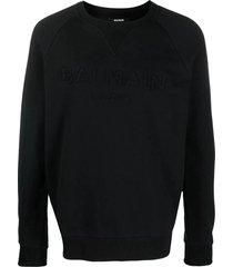balmain black cotton sweatshirt