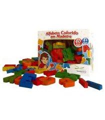 alfabeto movel colorido em madeira – 40 peças