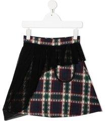 infantium victoria tartan mesh overlay skirt - purple