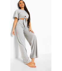 basic pyjama met strik, grey