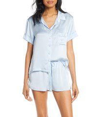 women's papinelle silk short pajamas, size small - blue