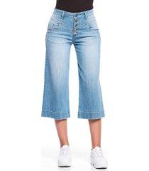jean culotte botones azul medio