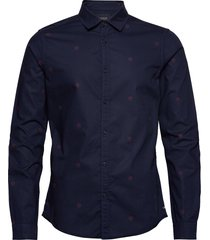 ams blauw light weight shirt with prints skjorta casual blå scotch & soda