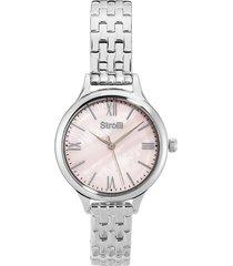 kensington - orologio da polso solo tempo con cassa e cinturino in acciaio e quadrante rosa per donna