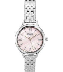 orologio solo tempo con cassa e cinturino in acciaio, quadrante rosa per donna