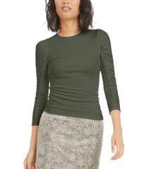 bar iii ruched puffed-shoulder 3/4 sleeve t-shirt, created for macy's