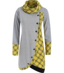 plaid insert long sleeve asymmetrical t-shirt
