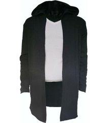 saco negro songe jeans irregular con capucha