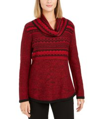 style & co cowl-neck printed sweater, created for macy's