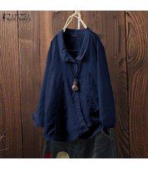 zanzea mujeres down asimétrica hem tapas de la camisa de la solapa de la camisa ocasional de la blusa plus -azul marino