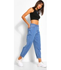 mom jeans met curve detail, middenblauw