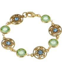 2028 14k gold dipped light green and aqua bracelet