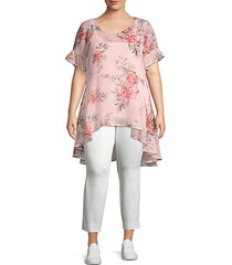 plus high-low floral-print tunic