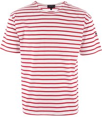 armor lux breton striped mariniere t-shirt - white & dark red 01527