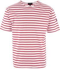 armor lux breton striped mariniere t-shirt - white & dark red 01527