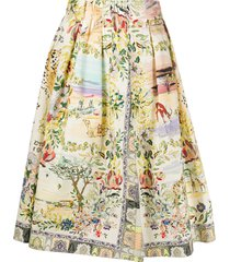 etro nature print full shape skirt - neutrals