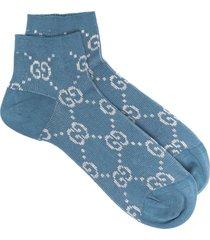 gucci metallic gg supreme socks - blue
