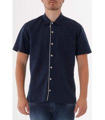 oliver spencer hawaiian shirt - linton ink blue  osms102a-lin01nb