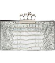 alexander mcqueen crocodile-effect clutch bag
