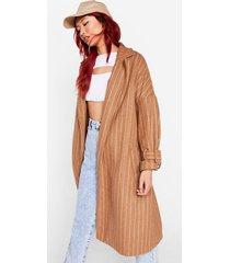 womens how long faux wool it take stripe belted jacket - camel