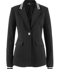 blazer in jersey di cotone con dettagli a righe (nero) - bpc bonprix collection