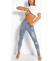 distressed zuurgewassen skinny jeans van stretchstof met hoge taille, blauw