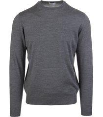 fedeli man round-neck pullover in asphalt grey wool