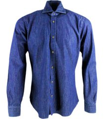 barba napoli dandy life mens shirt in dark stretch denim with brown wooden buttons