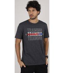 """camiseta masculina esportiva ace """"trainning"""" manga curta gola careca cinza mescla escuro"""