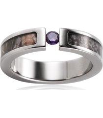 titanium purple cz stone inlaid brown tree camo engagement ring outdoor hunting