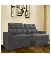 sofá 5 lugares net jaguar assento retrátil e reclinável cinza 2,50m (l)