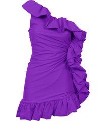amen one-shoulder ruffled mini dress
