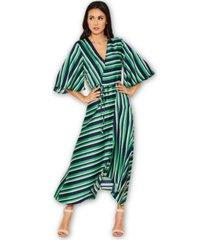 ax paris striped wrap over dress