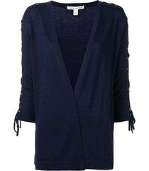 autumn cashmere lace-up sleeve cardigan - blue