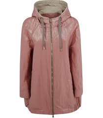 brunello cucinelli drawstring hood mid-length zipped jacket