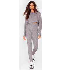 womens let rib be cropped sweater and leggings set - grey