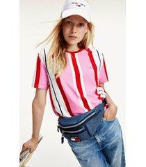 tommy hilfiger women's organic cotton stripe t-shirt pink daisy / deep crimson - xl