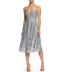 women's dress the population leona art deco sequin fit & flare dress, size x-large - metallic