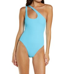 l space phoebe classic one-shoulder rib one-piece swimsuit, size 10 in aquarius at nordstrom