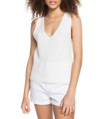 women's roxy bright place knit tank, size medium - white