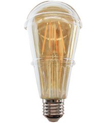 lâmpada led st64 com filamento 4w bivolt 2400k luz amarela