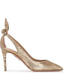 aquazzura bow tie pumps - gold