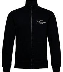 m original zip jacket med grey mel sweat-shirt tröja svart peak performance