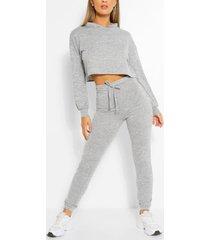 soft melange hoodie & jogger lounge set, grey