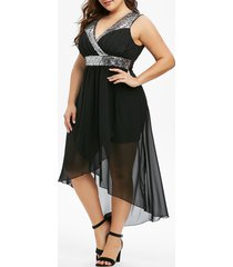 plus size sequins splicing high low party dress