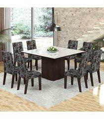 mesa de jantar 8 lugares dara venus ameixa/cobre/branco - viero móveis